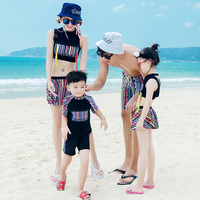 Family swimwear 3 pieces bikini set for women beach shorts for men couples children girl boy Parent child swimsuits bathing suit