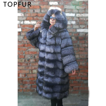 TOPFUR Long Luxury Real Fur Coat For Women Fashion Winter Natural Silver Fox Fur Jacket Warm Thick Fur Coat With Hood Outerwear