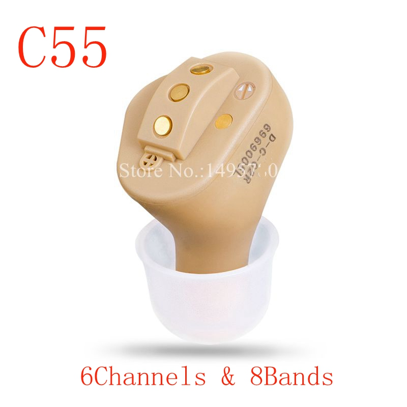 C55 Rechargeable Invisible Complete In Ear Digital Hearing Aid 6 channels 8 bands USB Rechargeable CIC Hearing Aids Dropshipp