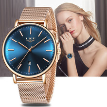 LIGE Women Watches Top Brand Luxury Ladies Mesh Belt Waterproof  Watch Stainless Steel Waterproof Clock Quartz Watch Reloj Mujer