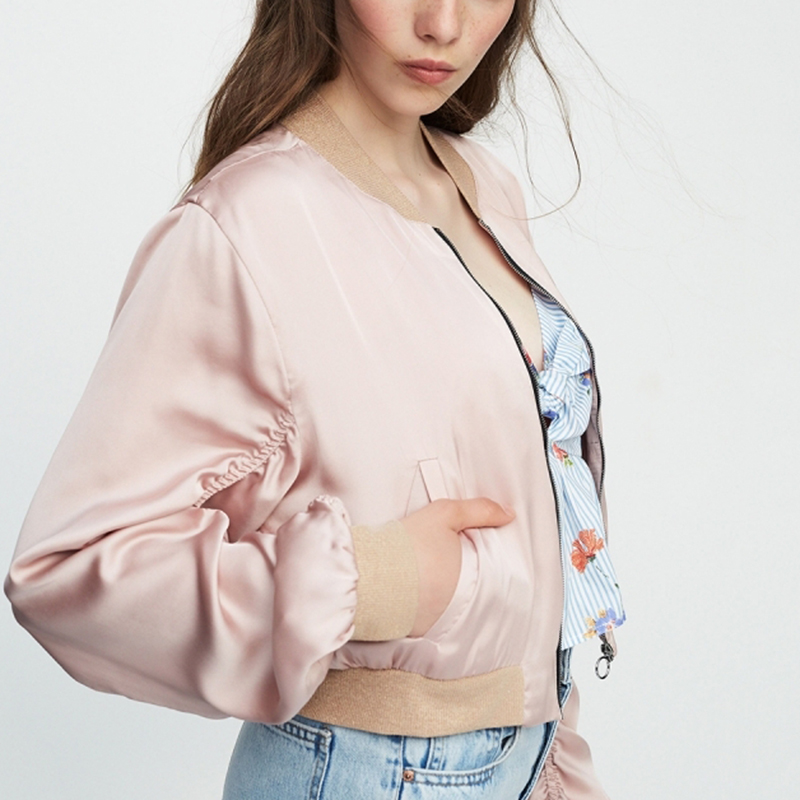 HDY Haoduoyi Brand 2018 Women Light Pink Causal Jackets O-Neck Poackets Patchwork Zipper Female Sweet Coats Lady Outwears
