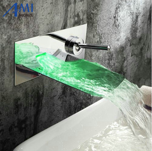waterpower RGB LED Wall mounted waterfall brass Faucet Bathroom sink basin mixer tap free shipping luxury three piece bathroom faucet brass chromed basin tap wall mounted waterfall faucet lt 303
