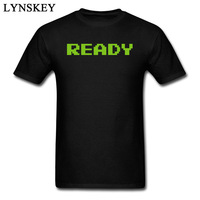Green Ready Letter Print Men Simple Style T Shirts Summer 2017 Customized Tops Tees Pure Cotton