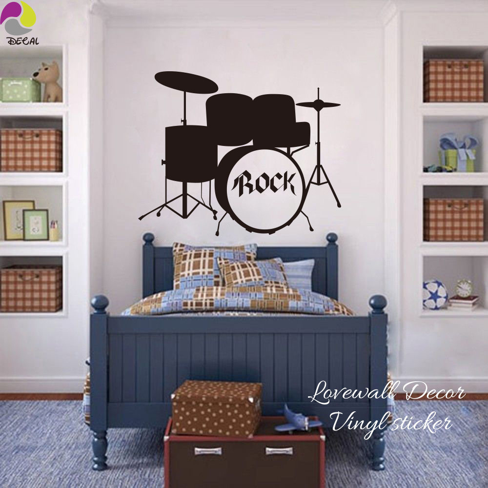 Roccia Tamburi Musica Wall Sticker Camera Dei Bambini Camera Da ...