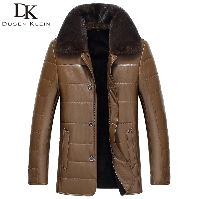 Dusen Klein New 2017 men leather Jacket Genuine sheepskin Nature wool liner Mink fur collar luxury coats Balck/Brown 61H753