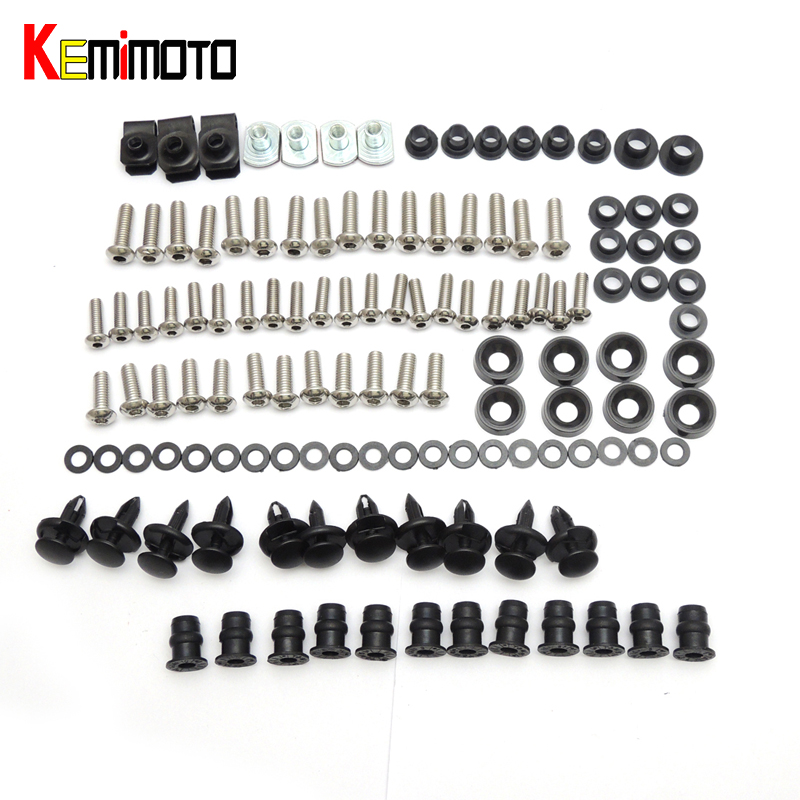 KEMiMOTO Motorcycle Fairing Bolt Screw Fastener Fixation for Honda CBR600RR CBR 600RR 2003 2004 2005 2006 Complete Kit for honda cbr600rr 2007 2008 2009 2010 2011 2012 motorbike seat cover cbr 600 rr motorcycle red fairing rear sear cowl cover