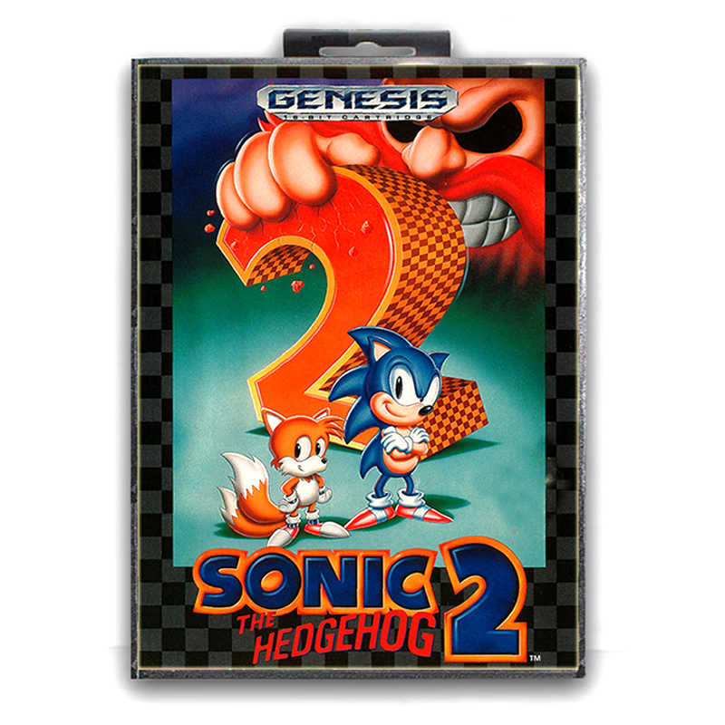 Sonic the Hedgehog 2 with Box for 16 bit Sega MD Game Card for Mega Drive for Genesis Video Console