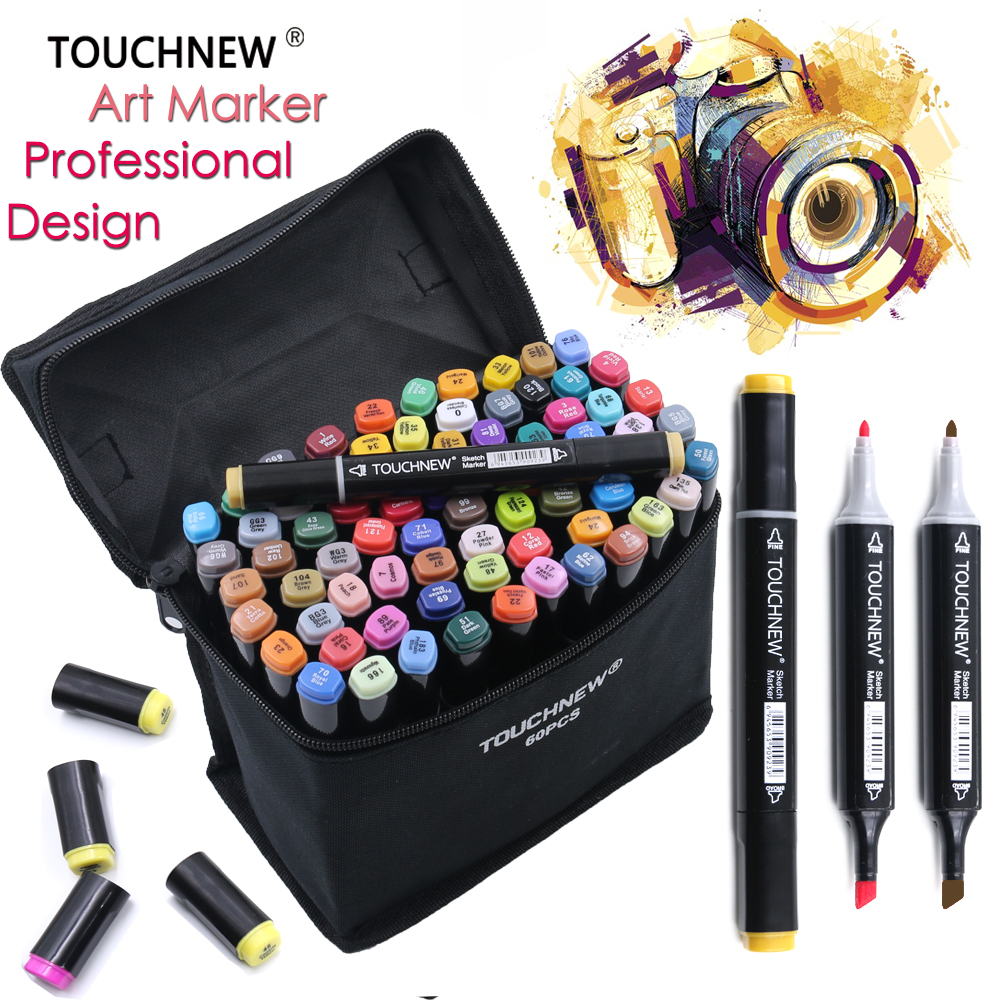 TOUCHNEW 60/80 Colors Artist Double Tips Marker Set Animation Manga Design School Drawing Sketch Marker Pen touchnew 80 colors artist dual headed marker set animation manga design school drawing sketch marker pen black body