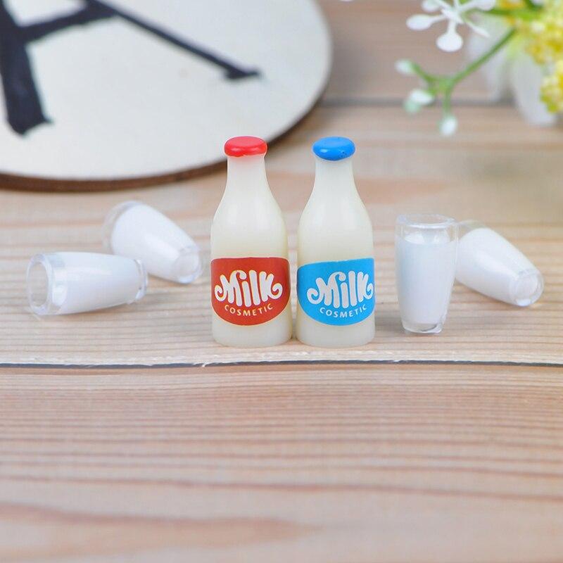 2PCS Milk Bottles+4Pcs Milk Cup Breakfast Dollhouse Kitchen Accessories 1:12 Miniature Food