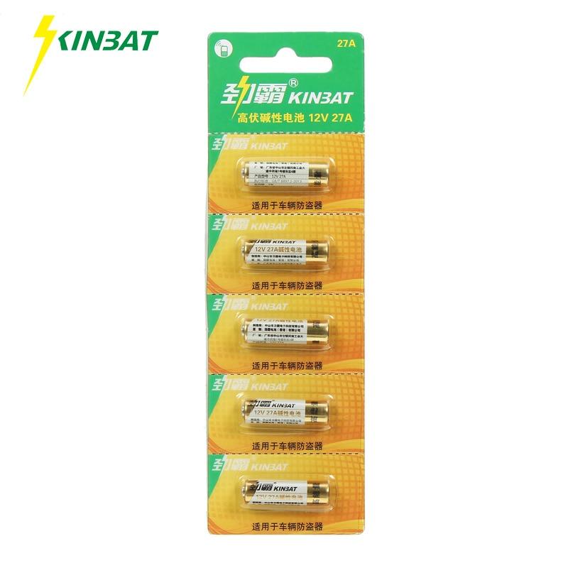 Kinbat 5 шт./карта 12 В <font><b>27A</b></font> щелочных Батарея A27 MN27 L828 27AE G27A EL812 B1 CA22 Super Alkaline сухой Батарея для Дверные звонки сигнализации