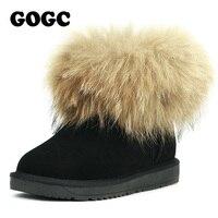 GOGC 2018 Fox Fur Women's Winter Boots Genuine Leather Women's Winter Shoes Ankle Boots Breathable Women's Boots Female Footwear