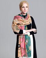 6ピースブランドプリントウールショール180*65ファッションデザインピュアパシュミナスカーフ用春秋冬女