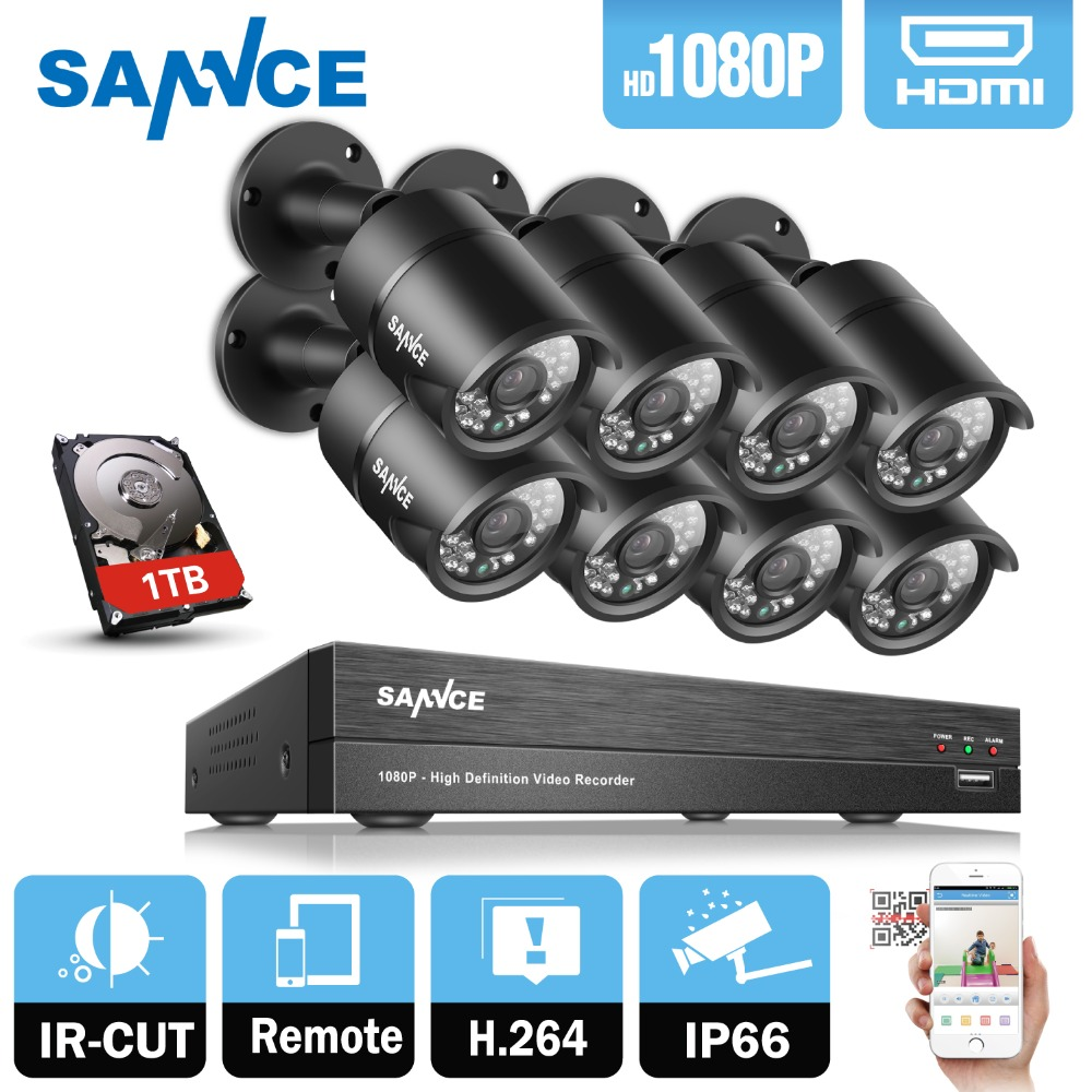 SANNCE 8CH 1080P HD DVR CCTV System 8pcs 1080P 2.0MP CCTV Security Camera 3000TVL home Video Surveillance Kit 1TB HDD