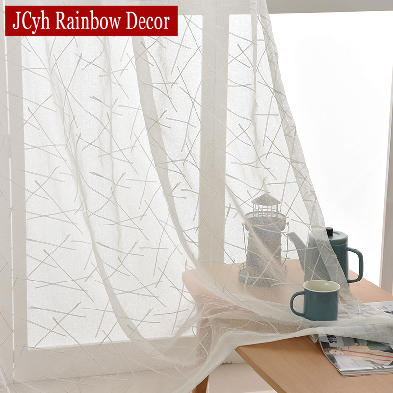 Sheer Curtains Panel Window Bedroom Living-Room Embroidered White Striped Modern-Design