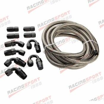 Tuyau d'huile/carburant tressé en acier inoxydable 16AN + KIT d'adaptateur d'extrémité de tuyau de raccord noir