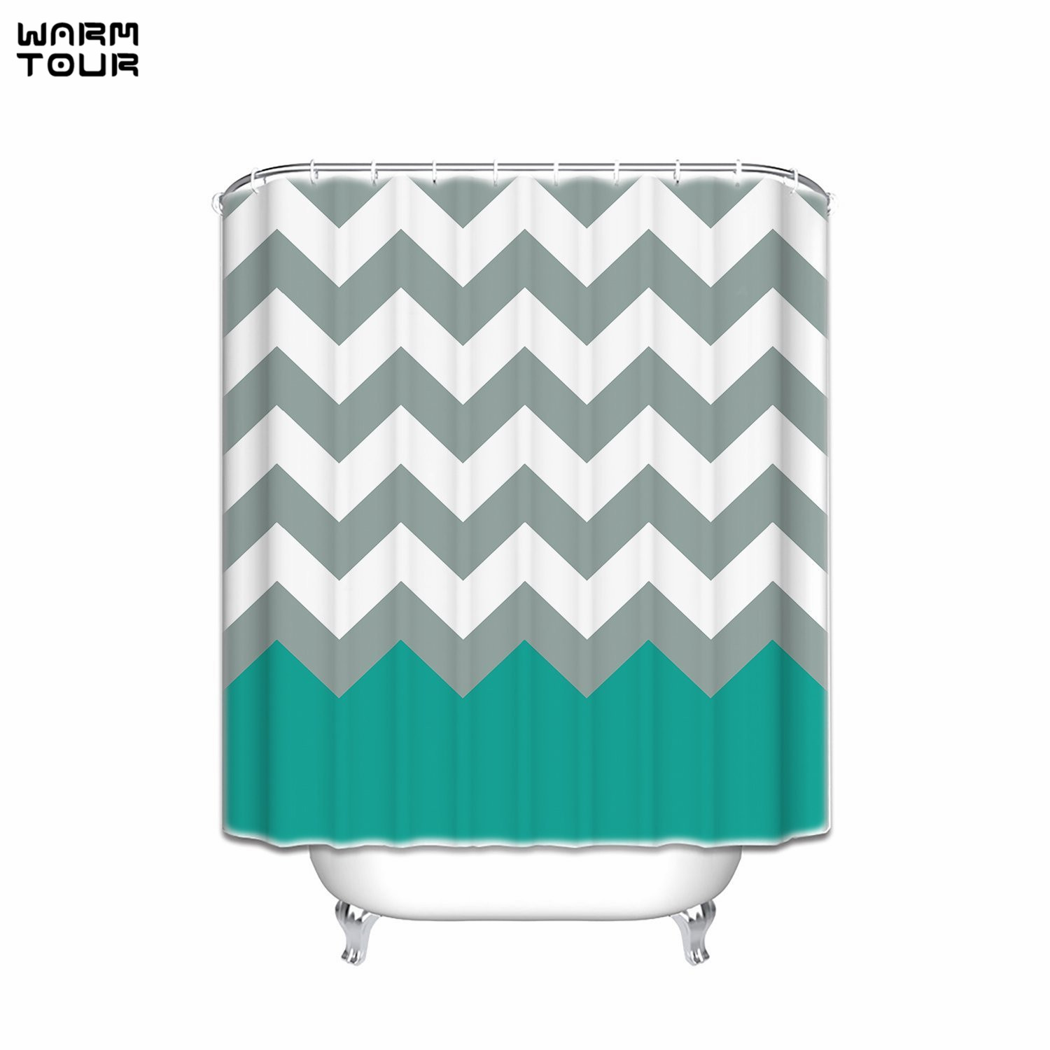 Aqua Chevron Shower Curtain - Warm tour love forever love symbol chevron pattern pink grey white waterproof bathroom fabric shower curtain