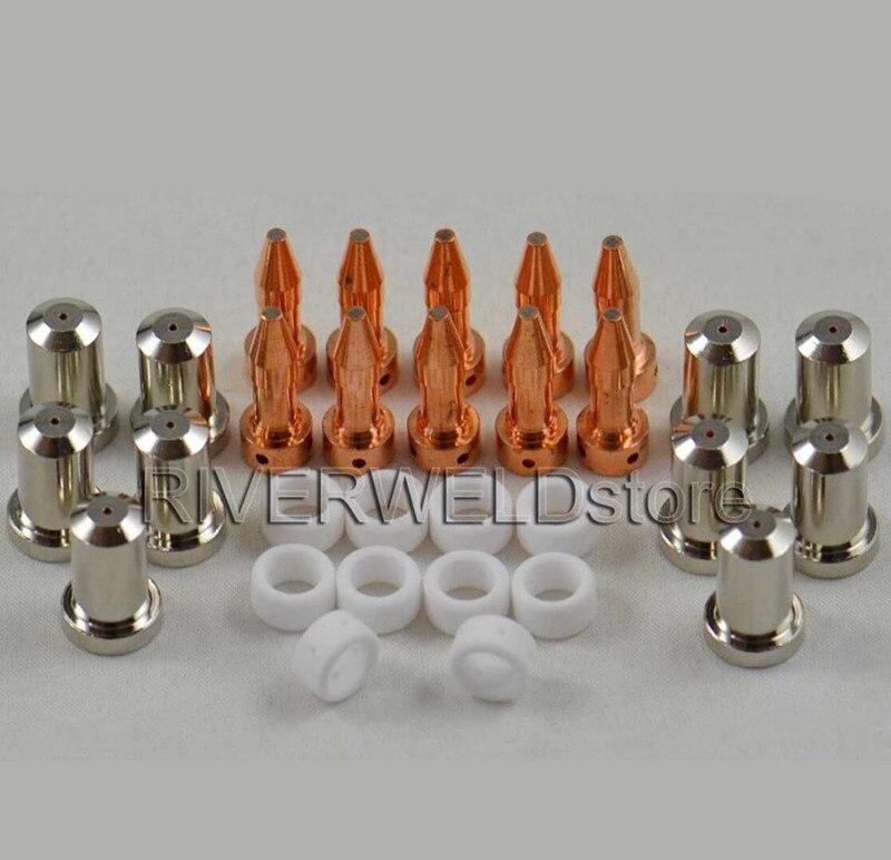 20Pcs Nozzle 33418 Electrode 33366XL 80A for Plasma PT-23 PT-27 Consumable Parts