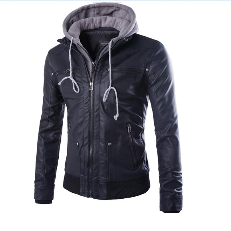 Mens Hooded Leather Jackets New Fashion Men Outwear Leather Coats Men Spring Black Slim Leather Jackets