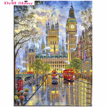 DIY 5D Diamond Embroidery Crystals Diamond Mosaic Picture Landscape London Round Rhinestones Diamond Painting Cross Stitch Kits(China)