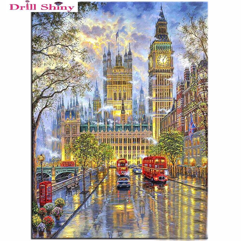 DIY 5D Diamond Embroidery Crystals Diamond Mosaic Picture Landscape London Round Rhinestones Diamond Painting Cross Stitch Kits