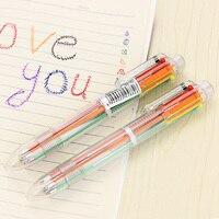 10pcs Set Transparent Rod 6 Color In One Pen Multifunctional Pen Multicolor Korea Multifunctional Office Stationery