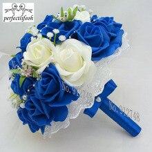 Perfectlifeoh Hochzeit Brautjungfer Rose Perlen Künstliche Blumen Braut Bouquets Handmade Hochzeit Bouquets hochzeit blumen braut