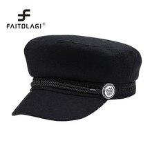 56113fa681748 Fashion Military Hat Women s Winter Hats Casual Street Wear Rope Flat Caps  Spring Black Girls Fahsion Caps