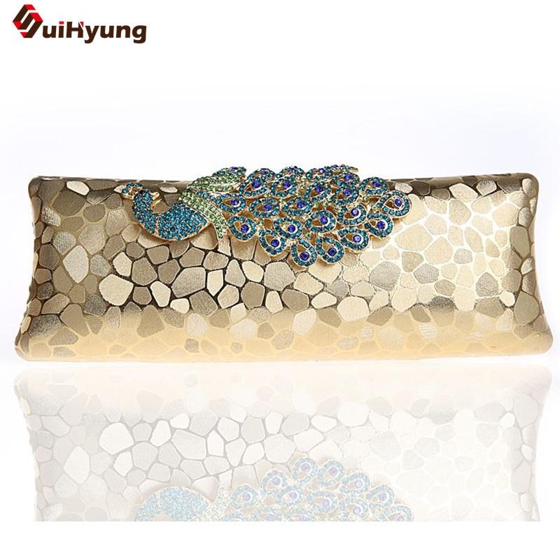 Free Shipping Women Hard Box Day Clutch Elegant DIY Diamond Peacock Handbag Purse Lady Party Evening