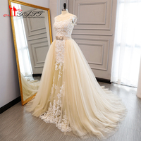 New Arabic Champagne Wedding Dresses With Detachable Train 2017 Lace Bride Dress Vintage Bridal Gown Custom
