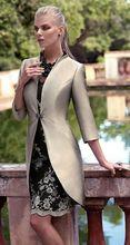 Elegante Mutter Kleid Mit Jacke Vestido De Madrinha Satin Gold Champagner Mutter Kleid Mantel Knielangen Formale Abendkleider