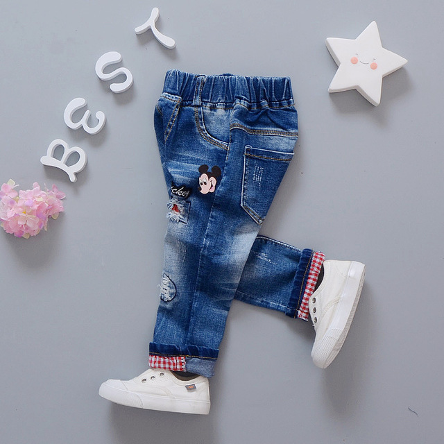 Бесплатная доставка 2017 весна детской одежды простые джинсы, детские твердые джинсовые Брюки