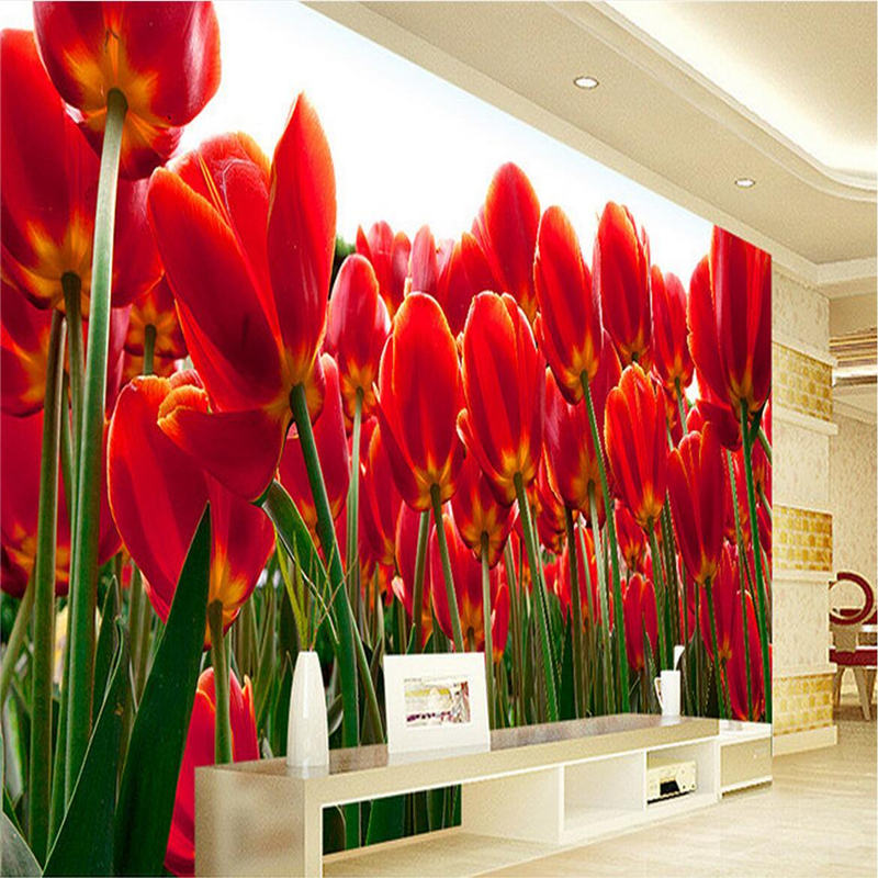 Custom Photo Art Wallpaper 3D Flower Designs Red Tulips Extra Thick TV Background 3d Mural Wall Paper for Living Room Restaurant shinehome 3d fantastic colorful balloons embossed wallpaper background mural rolls for kids living room wall paper decal art