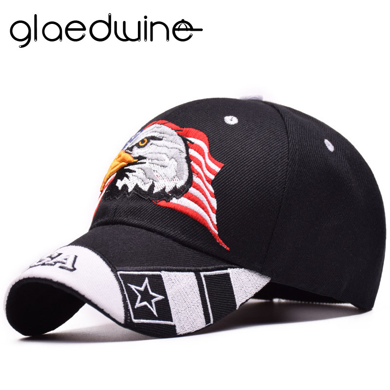 US $4 42 30% OFF|Glaedwine Baseball Cap USA Flag Eagle Embroidery Snapback  Caps Casquette Hats Fitted Casual Gorras Dad Hats For Men Women bones-in