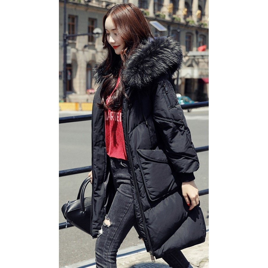 Minus 20 Degrees Wear   Down     Coat   Women Thick Warm White Duck   Down   Parka Large Fur Collar Hooded Long Winter Snow Overcoats