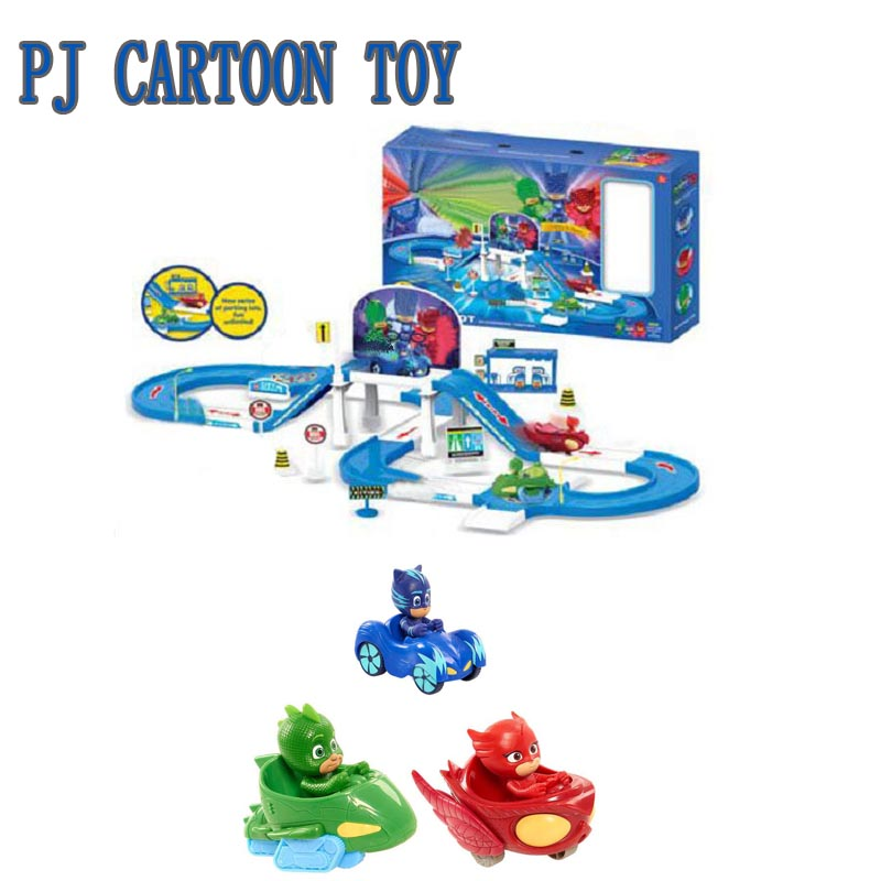 Les Pyjamasques Round Racing Track Action Figure Toy Pj Anime Mask Connor Greg Amaya Parking Lot Jouet Kids Birthday Gift les enfants pj racing mission cruiser car dessin maskmm toy anime pj car big truck display jouet children bithday gift toys