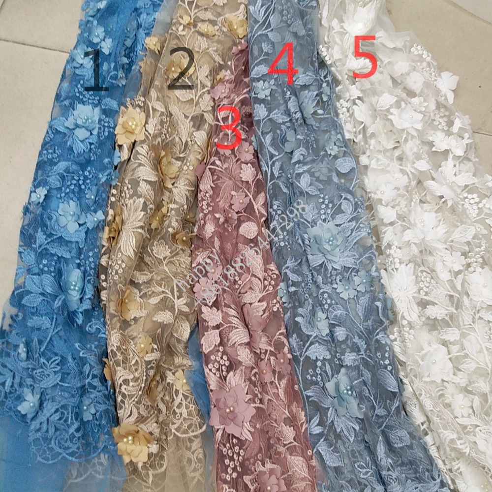 Azure, gold, pink, white ivory offwhite 3d flower Pearl big flower embroirdery mesh tulle fabric for party/evening dress
