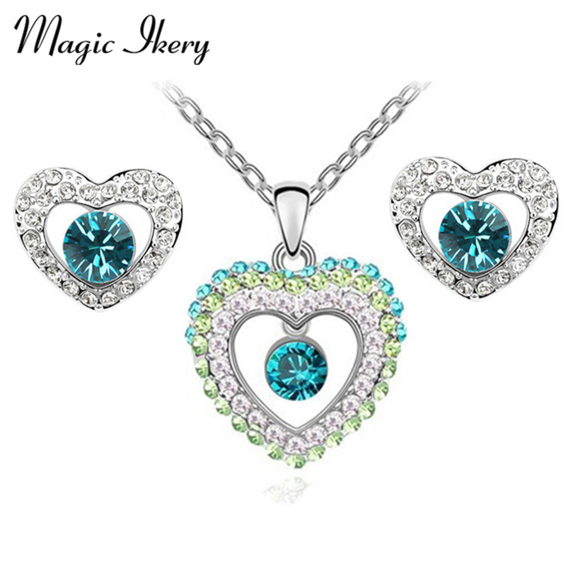 Magic Ikery Fashion Jewelry  Gold Color Crystal from india style Jewelry Sets with necklace earring for women MKZ1135