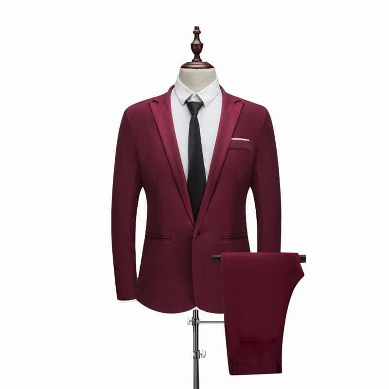 Oeak 男薄型セクションスーツ純粋な色新郎タキシードスーツ春と秋の結婚式のスーツ (ジャケット + パンツ) 男性プラスサイズ 3XL