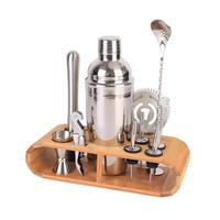 12 piece Multi function Home Kitchen Bar Set With Stylish Bamboo Frame Perfect Home Bartending Set Stainless Steel Cocktail Se