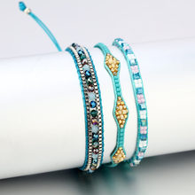 2019 Bohemian Colorful Seed Beads Bracelet Set For Women Charm Handmade Tassel Bangles Bracelet Femme Summer Jewelry(China)