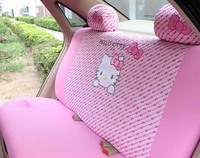 Universal Cartoon pink cat bow Car Seat Covers Interior Accessories Car Styling 4pcs pink only for back seat