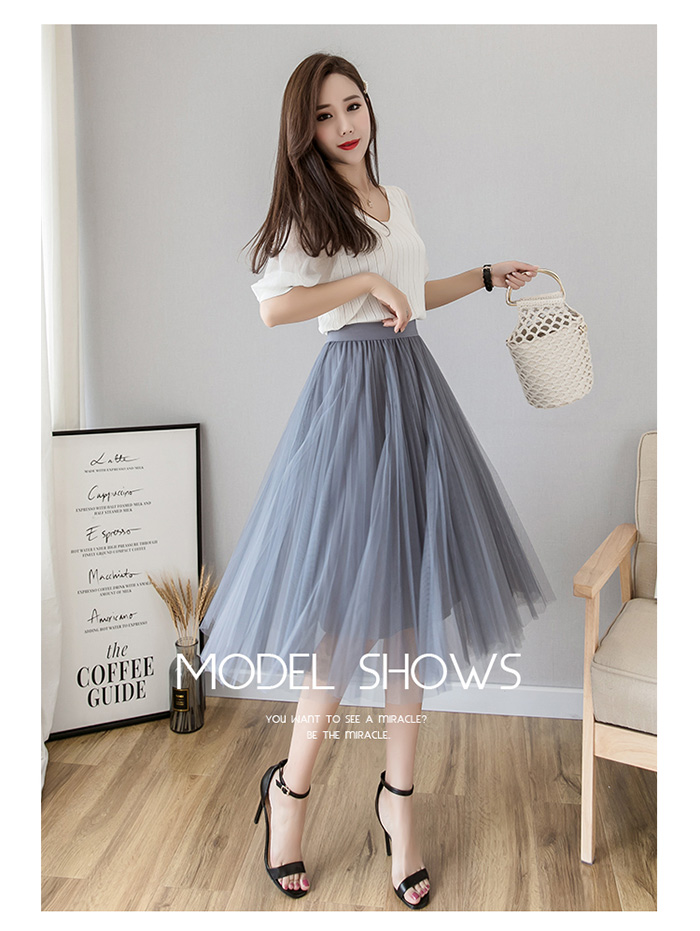 HTB1PqT1LsfpK1RjSZFOq6y6nFXaB - Tulle Skirts Womens Midi Pleated Skirt Black Pink Tulle Skirt Women Spring Summer Korean Elastic High Waist Mesh Tutu Skirt