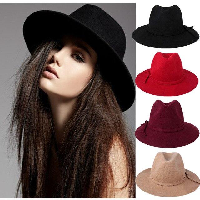 133cac831ccb3 Winter bowknot Vintage cap jazz hat Lady Girls Wide Brim Wool Felt Fedora  Hat black Floppy Cloche cowboy hat for men and women