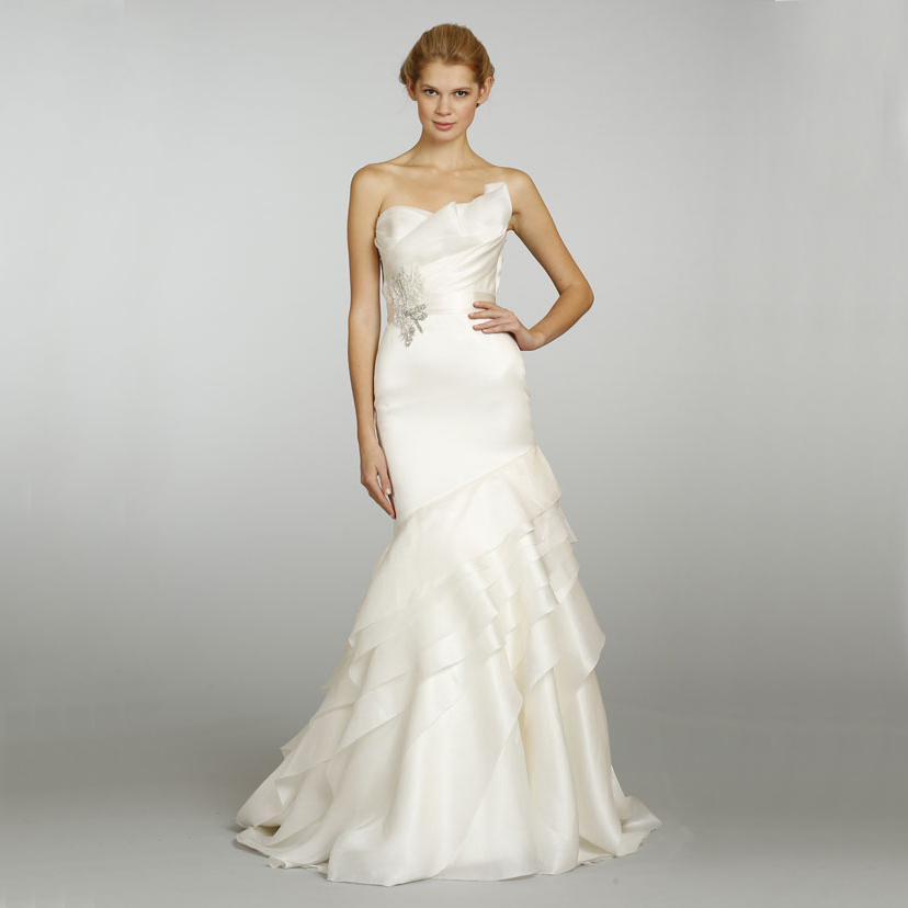 Silk Satin Strapless Beaded Belt Tiered Train Organza