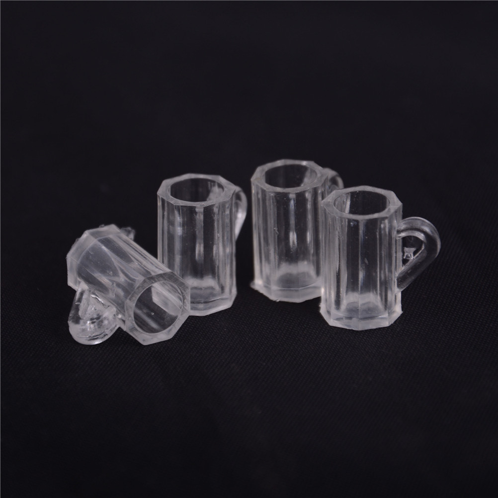 4Pcs 1:12 Dollhouse Beer Mugs Cup Plastic Dining Room Furniture Accessories