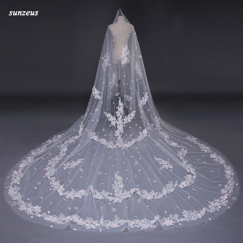 Church Veils Long Big Wedding Veils One Layer Appliques Bridal Veil With Pink Flowers Ivory Cathedral Veil mantillas WV057