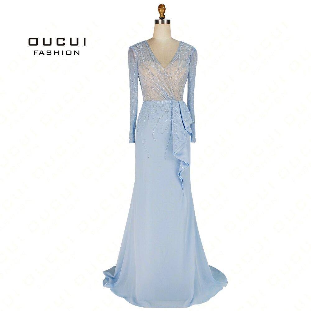 Newest Vestido Handmade Full Beaded Crystal Long Sleeves Mermaid Gowns With Train Abiye Formal Long   Evening     Dress   2019 OL103058