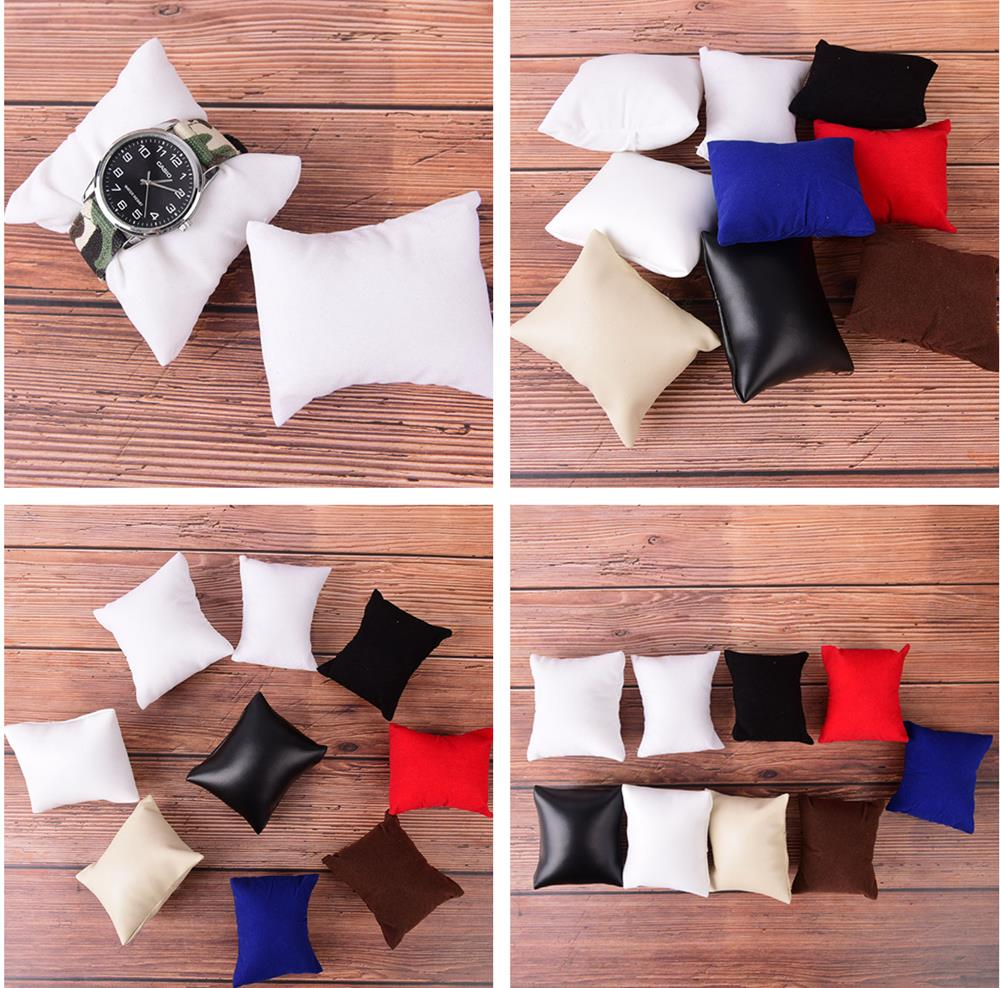 PU Or Velvet Cotton  Leather Bracelet Watch Pillow Jewelry Display Pillow Watch Holder Bracelet Display Props Ancke Showcase