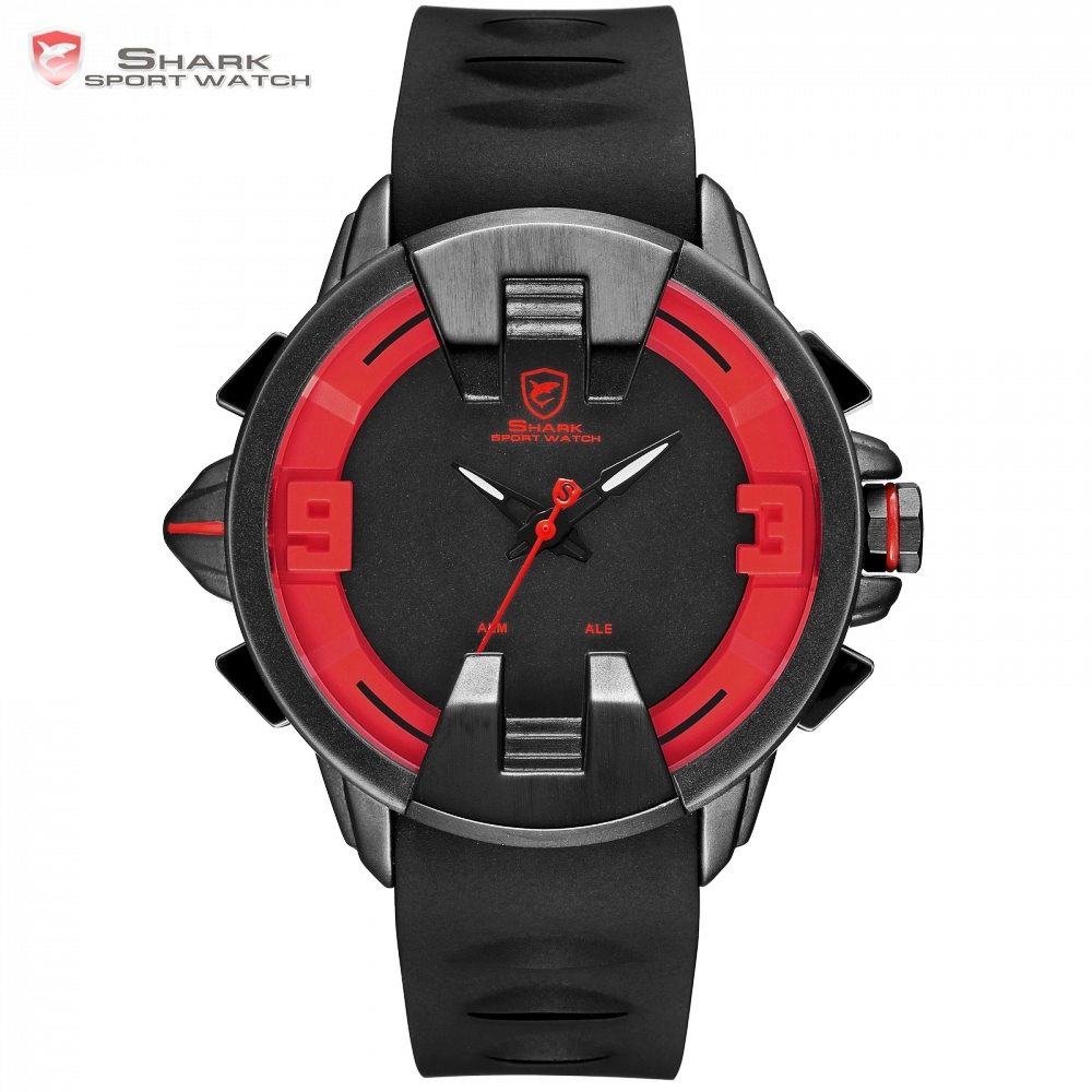 Wobbegong SHARK Sport Watch Creative Red LED Alarm Dual Movement Digital Analog Silicone Strap Quartz Geek Men Wristwatch /SH558 goblin shark sport watch 3d logo dual movement waterproof full black analog silicone strap fashion men casual wristwatch sh165