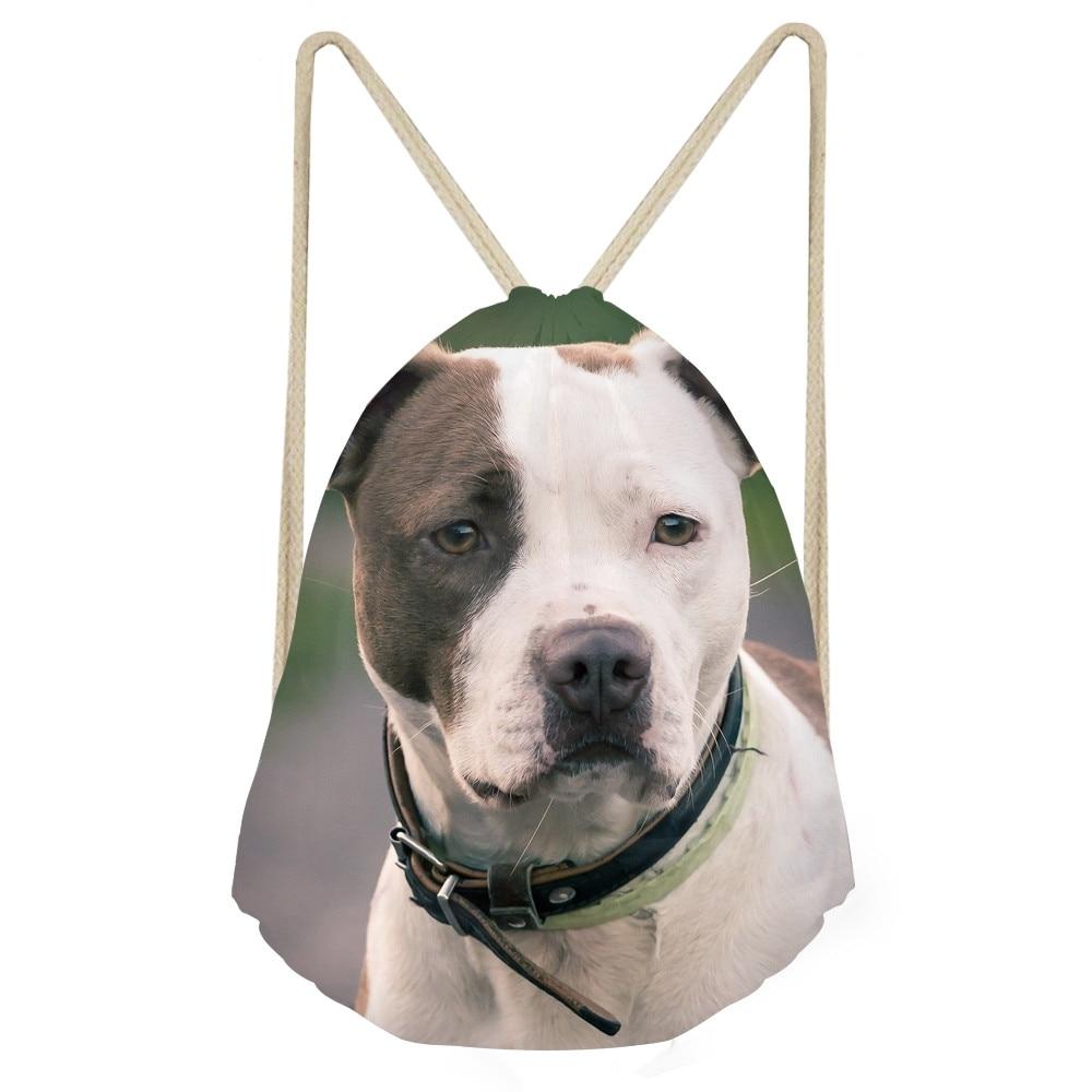 Funny 3D Bull Terrier Dog Print Women Men Drawstrings Bags Travel Storage Bags for Teen Boys